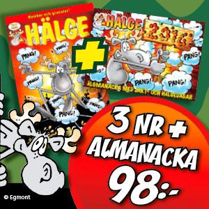 Hälge - 3 nr + Almanacka för 98 kr!
